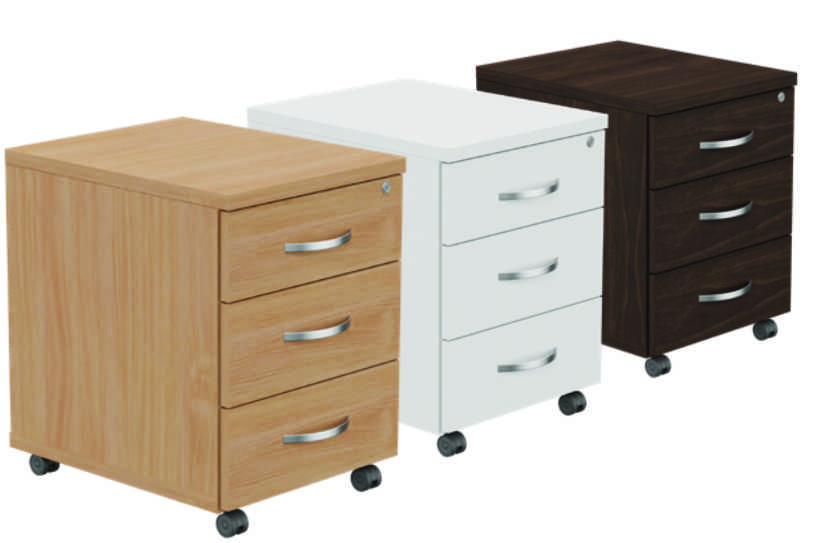 Kito Mobile Pedestal - 3 Drawer White
