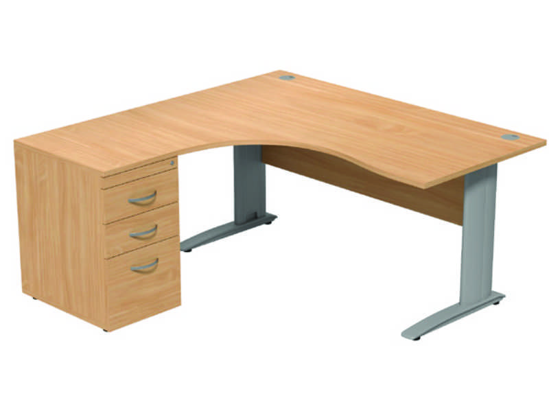 Komo Crescent Desk - Left - Beech Panel/ Silver Leg with Pedestal