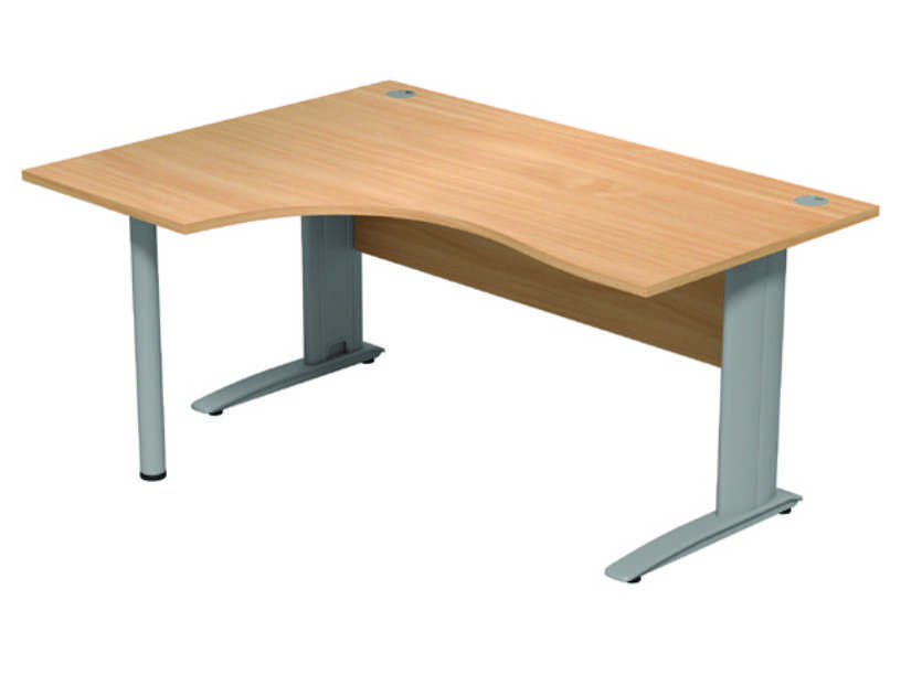 Komo Crescent Desk - Left - Beech Panel/ Silver Leg with Pole Leg