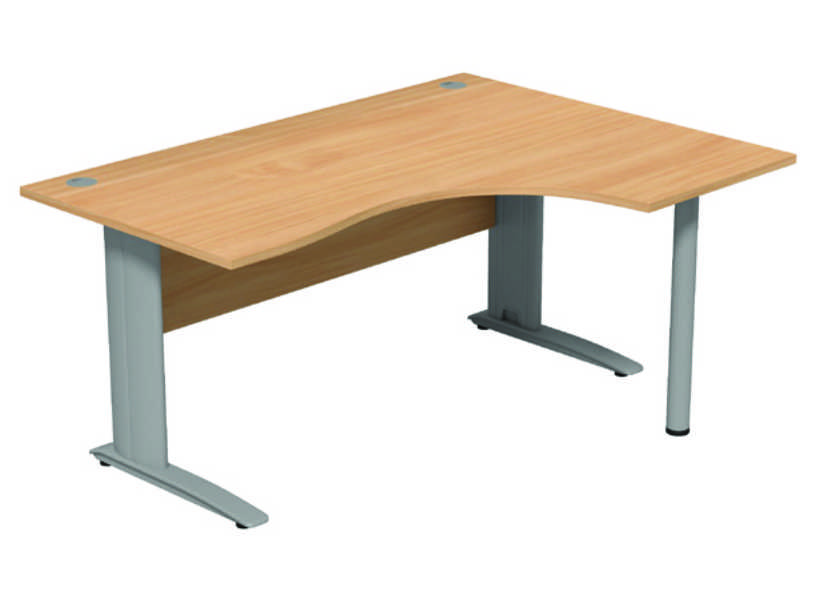 Komo Crescent Desk - Right- Beech Panel/ Silver Leg with Pole Leg