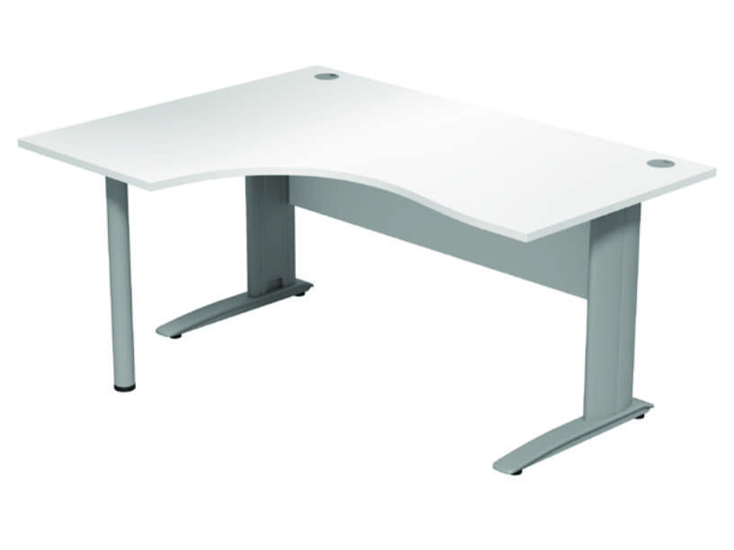 Komo Crescent Desk - Left - White Panel/ Silver Leg with Pole Leg
