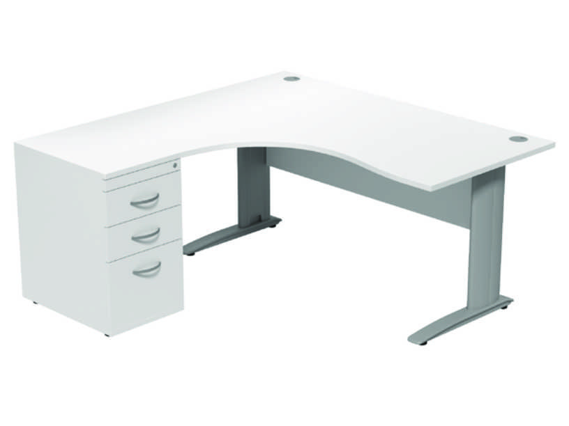 Komo Crescent Desk - Left - White Panel/ Silver Leg with Pedestal