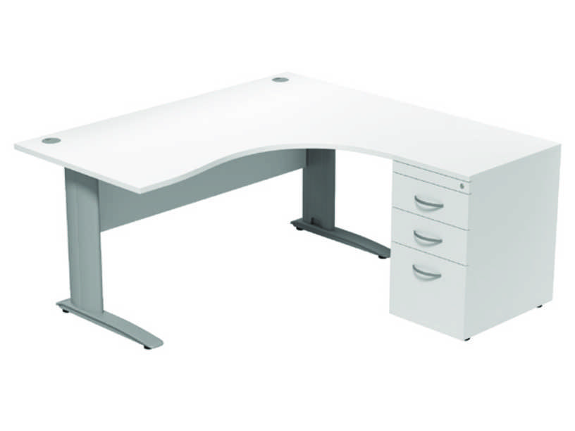 Komo Crescent Desk - Right - White Panel/ Silver Leg with Pedestal