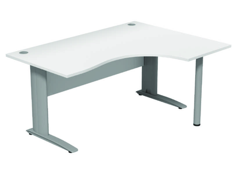 Komo Crescent Desk - Right - White Panel/ Silver Leg with Pole Leg