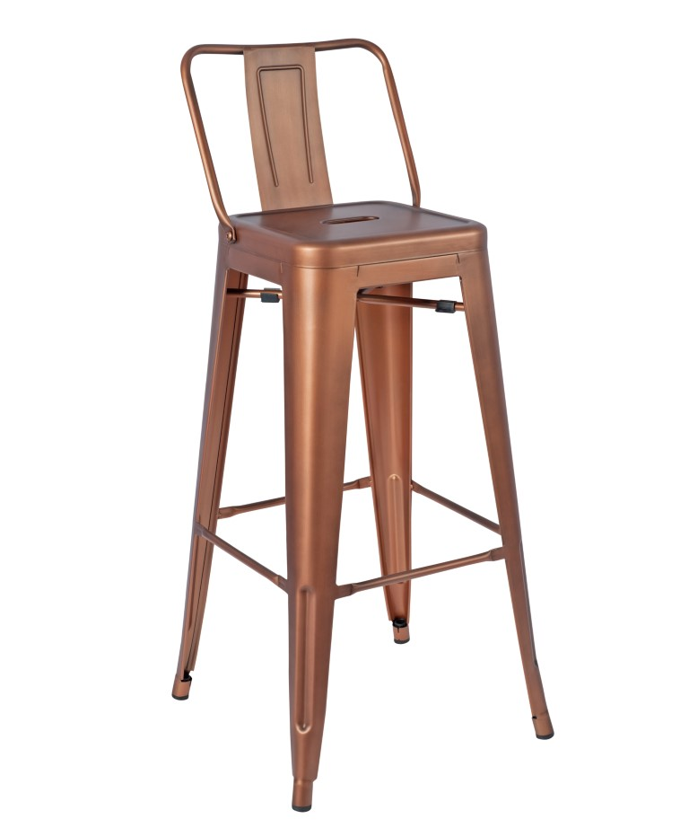 Paris High Stool With Back (Vintage Copper)